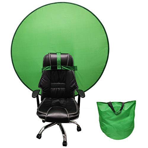 Portable Webcam Background,2021 Green Background Screen Portable 4.65ft for Photo Video Studio,Collapsible Background,Single-Side Chromakey Green Screen for Chair