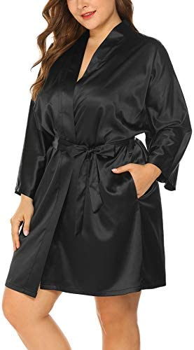 IN VOLAND Women s Plus Size Robe Kimonos 3 4 Sleeve Satin Robes Silky Bathrobe Sleepwear with product image