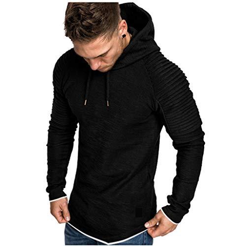 Xmiral Herren Sweatshirt Top Herbst Langarm Plaid Hoodie Mit Kapuze T-Shirt Outwear Streetwear Kapuzenpullover Outdoor Sportbekleidung(Y Schwarz,XXL)