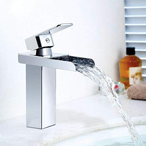 Waschtischarmatur und Wasserhahn Wasserfall 120° Drehbar Einhebel Heißer und kalter Mix Wasserhahn mit Filter Netz Armatur für Bad Größe:16 * 13.5 * 5cm