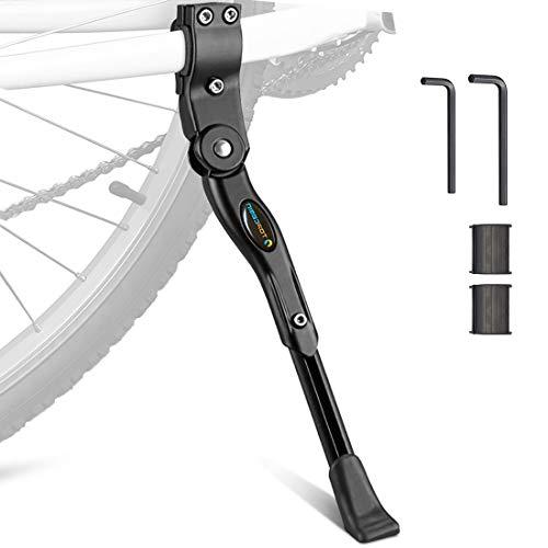 TOPCABIN Bike Kickstand Adjustable Aluminium Alloy Bicycle Kickstand Bike Side Kickstand Fit for 22' 24' 26' 28' Mountain Bike/700 Road Bike/BMX/MTB (Black-Label)