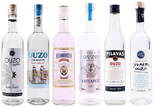 OUZO Probierset 6x 700ml | Feinster Ouzo aus Griechenland | Ouzo Geschenkset (6x 700ml)