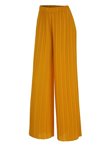 LL WB1795 Womens Pleated Wide Leg Pants with Elastic Waist Band-Made in USA L Mustard