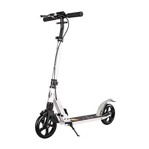 MYAOU Stunt Scooter para niños de 6 a 12 años de Altura Ajustable Scooters para Adultos con Ruedas Grandes, Plegable, Freno de Mano y Freno Trasero (Blanco)