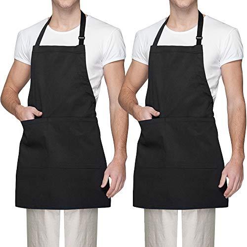 Vegena 2 Stücke Schürze, Wasserdicht Kochschürze Grillschürze Küchenschürze Latzschürze Backschürze mit 2 Taschen Verstellbarem Nackenband für Frauen Männer Damen Chef (Schwarz)