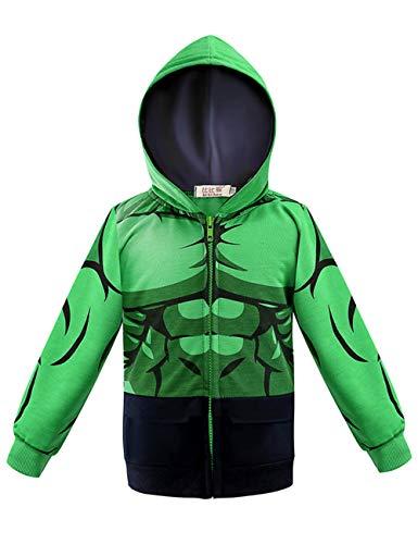Aramomo Kinder-Superhelden-Kapuzenpullover mit Tasche und Reißverschluss, langärmelig, für Jungen und Mädchen im Alter von 1–7 Jahren Gr. 100 cm/12 Monate, Hulk