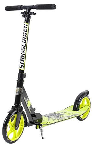 Star-Scooter Aluminium Kickscooter Roller Kinderroller Tretroller für Jungen und Mädchen ab 6-7 Jahre | Big 205mm Wheel mit XXL Trittbrett Scooter für Kinder und Erwachsene | Schwarz & Grün