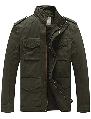 WenVen Men's Cotton Military Stand Collar Field Jacket (Army Green, Large)