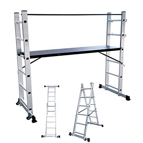 HENGMEI Andamio de aluminio, escalera de trabajo, plataforma de trabajo, andamio, escalera, soporta hasta 150 kg, color plateado