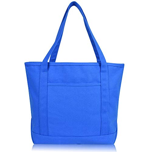 DALIX 20' Solid Color Cotton Canvas Shopping Tote Bag in Royal Blue