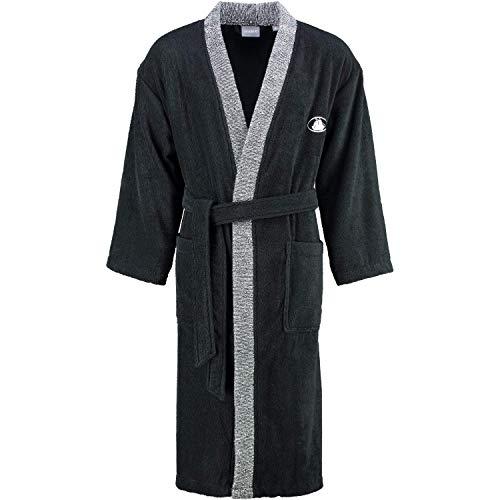 Egeria 011026 Black+White Kimono Unisex Bademantel, Baumwolle, 42 x 32 x 10 cm, schwarz