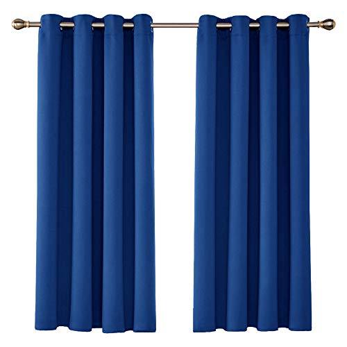 UMI by Amazon Cortinas Salón Opacas Térmicas Aislantes Frío y Calor para Ventanas Suaves 2 Piezas con Ojales 140 x 175 cm Azul Oscuro