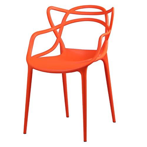 LJZslhei Stuhl Rückenlehne Haushalt Kunststoff Stuhl Hocker modernen minimalistischen Esszimmerstuhl Orange