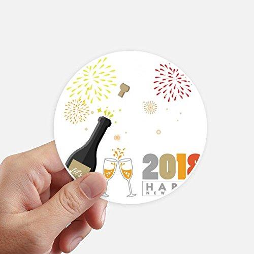 DIYthinker 2018 Alcohol Wijnglas Vuurwerk Nieuwjaar Ronde Stickers 10Cm Wandkoffer Laptop Motobike Decal 8 Stks
