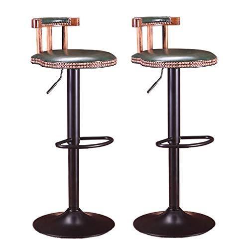 WWW-DENG barkruk Swivel Barstools 2-delige set | kruk bureaustoelen | keuken en eetkamer | Stoelen verstelbaar kantoor | PU-leer | 30 inch barkruk