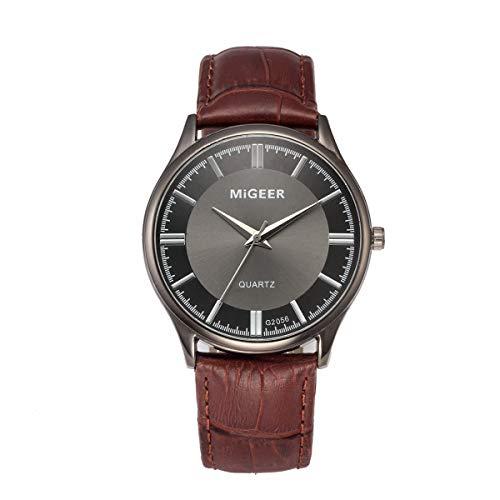 MOSTFA Men Watch Outdoor Sports Retro Design Leather Band Analog Alloy Quartz Wrist Watch Grey Dial Date Timer Best Present