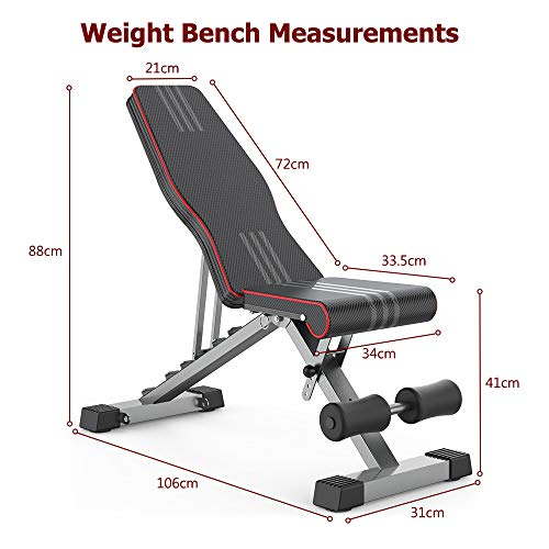 OUNUO Adjustable Weight Bench Foldable, Fitness Workout Bench Weight Lifting Sit-up Multi-use Exercise Bench Flat Incline Decline Bench Press for Home Gym Training