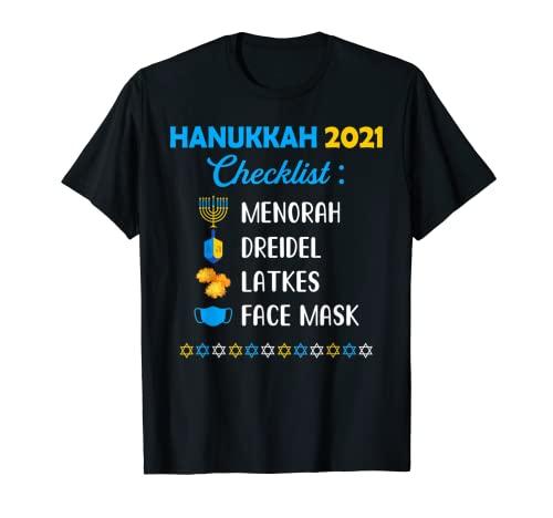 Funny Hanukkah 2021 Checklist Happy Hanukkah Pajamas Family T-Shirt
