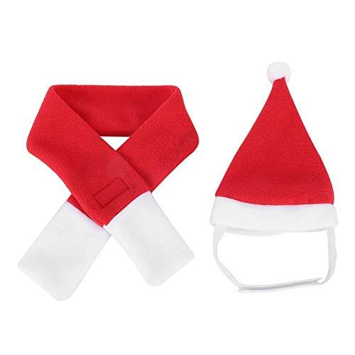 YOUTHINK Disfraz para Mascotas Disfraz de Navidad para Mascotas, Collar de Bufanda con Gorro de Papá Noel para Cachorros, Gatitos, Mascotas Pequeñas(M)