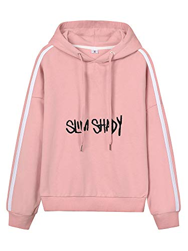 Eminem Pullover Frauen Kordelzug Hoodies Sport beiläufige mit Kapuze Langarm-Sweatshirt Tops Unisex (Color : Pink13, Size : Height-175cm(Tag L))