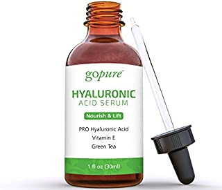 goPure Hyaluronic Acid Serum with Vitamin C, Green Tea & Vitamin E - Hydrating Anti Aging Serum - Hydrates & Plumps the Skin - Dry Skin, Fine Lines, Wrinkles - 1oz