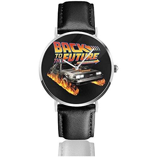 Unisex Business Casual Delorean Countdown Zurück in die Zukunft Uhren Quarz Leder Uhr