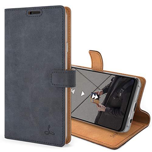 Snakehive S9 Schutzhülle/Klapphülle echt Lederhülle Kartenfach mit Standfunktion, Handmade in Europa für S9 - Marine Blau