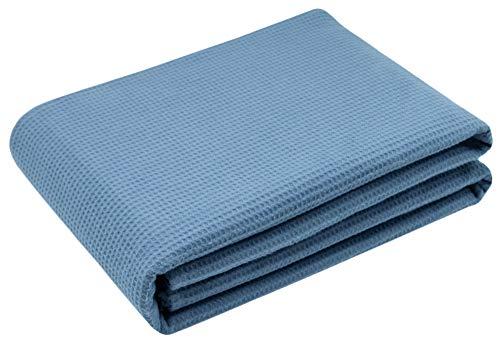 ZOLLNER Dünne Tagesdecke aus Waffelpique, Baumwolle, ca. 150x200 cm, blau