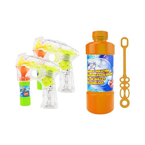 Quantio Set aus LED Seifenblasenpistole und Seifenblasenflüssigkeit - mit Licht, batteriebetrieben, Verschiedene Mengen wählbar, Stückzahl:3-TLG. Set