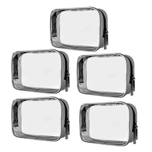 PVC Bolsa de Maquillaje 5 Piezas Transparente Bolsa de Aseo Portátil Cosméticos Organizador Impermeable para Vacación Baño y Viajes 16.5 x 5 x 11.5 cm