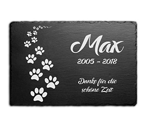 CHRISCK design Gedenktafel für Hunde mit Gravur Grabstein Pfoten Gedenkstein Schiefer Tafel Tier Grabplatte graviert Tatzen Pfötchen 30x20 cm für deinen Hund oder Deine Katze Grabschmuck
