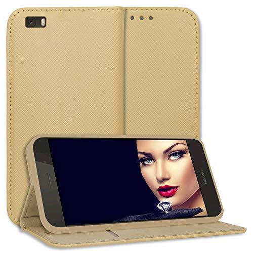 mtb more energy® Schutz-Tasche Bookstyle für Huawei P8 Lite (ALE-L21. / BJ 2015/5.0'') - Gold - Kunstleder - Klapp-Cover Hülle Wallet Hülle