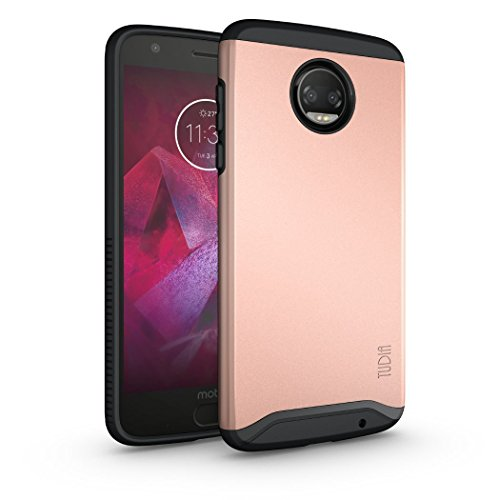 Moto Z2 Force Hülle, TUDIA Slim-Fit Merge Dual Layer Schutzhülle für Motorola Moto Z Force (2nd Generation), Moto Z2 Force Droid Edition (Rose Gold)