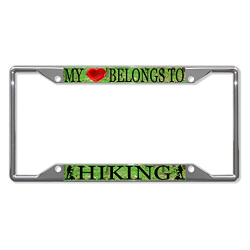 My Heart Belongs to Hiking Metal License Plate Frame Tag Holder Four Holes Perfect for Men Women Car garadge Decor