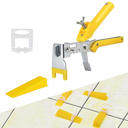 Tile Leveling System 1/8 inch Kits with Pliers, Tile tools for installation, 300pcs Tile Spacers Clips, 100pcs Reusable Wedges for Floor Leveling, Tile Kits, Wall Tile Leveler Tools