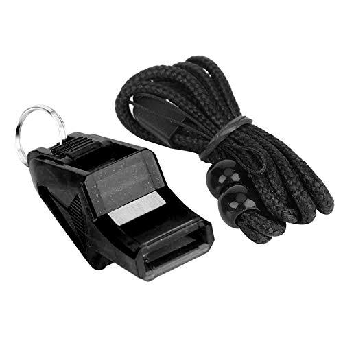 Keenso Silbato de Seguridad para árbitros portátil para Deportes al Aire Libre cordón para fútbol, Baloncesto, Seguridad y Supervivencia de Emergencia(Negro)