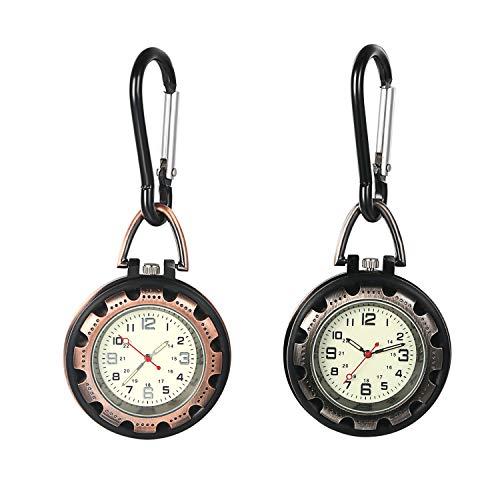 Ansteck-Quarzuhr mit Sekundenzeiger für Männer und Frauen, leuchtet im Dunkeln, Rucksack-Schnalle, Gürtel-Uhr für Ärzte, Krankenschwestern, Köche, Wandern oder Klettern 2er-Set