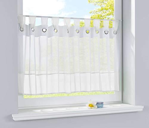 Bistrogardine Scheibengardine Voile Gardine Ösen mit Bordüre Vorhang Küche Gardinenstange 50x160 (HxB) Weiß, 610710ep