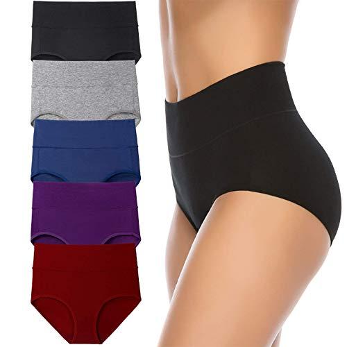 Women's High Waist Cotton Underwear Soft Brief Panties Regular and Plus Size (Medium, Dark Colors, 5-Pack)