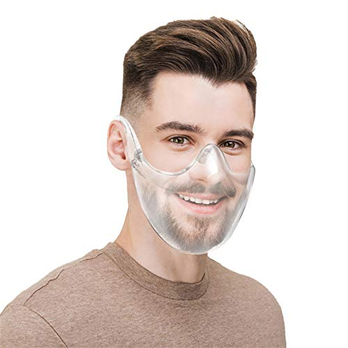 MOVERV 4 PCs Anti Fog Transparent Face_Masks, Reusable Half-Face Sneeze Guard, Clear Face_Shield for Health Protection and Comfortable Breathing, Mouth Shields for Deaf