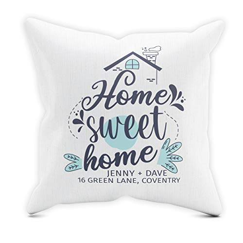 Purple Print House Home & Kitchen Home Sweet Home Cotton Cushion - Personalised New Home Gifts For Men Women Kids - New Home Gift, Cover Only