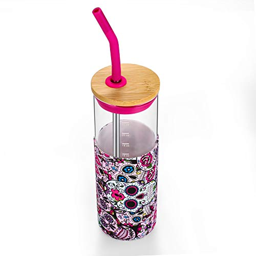 Tronco 24oz Glass Tumbler Glass Water Bottle Straw Silicone Protective Sleeve Bamboo Lid - BPA Free