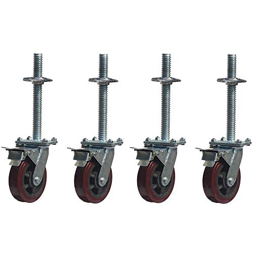 DXJL wieltjes 6 inch mobiele steiger wiel zij-activiteit steiger met brems steunwiel upgrade-heavy duty wieltje polyurethaan lila universeel wiel stum