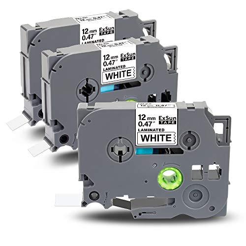 Exsun 3x Etichette Sostituzione per Tze Tz Nastro 12mm 0.47 Tze231 Tze-231 Nero su Bianco Laminato Cassetta per Brother PT-H110 PT-P300BT PT-D210 GL-H100 PT-E100 PT-H101C PT-H200, 12mm x 8m