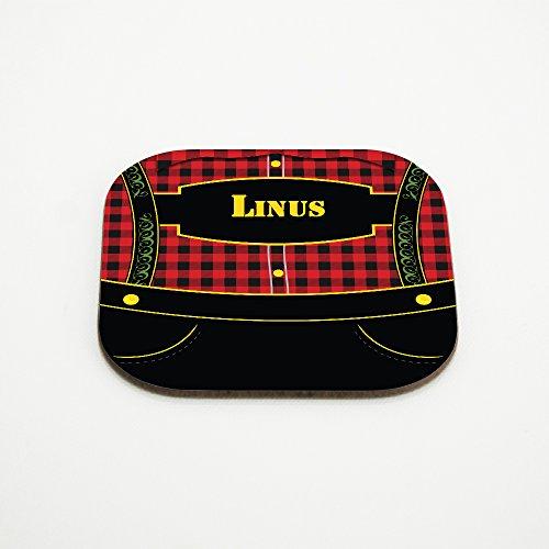 Motiv-Untersetzer mit Namen Linus und bayerischem Lederhosen-Motiv für Männer