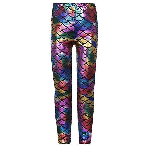 Top Fashion18 Kids Unisex Girls Boys Mermaid Metallic Fish Scale Stretch Disco Party Party Leggings Age 5-13
