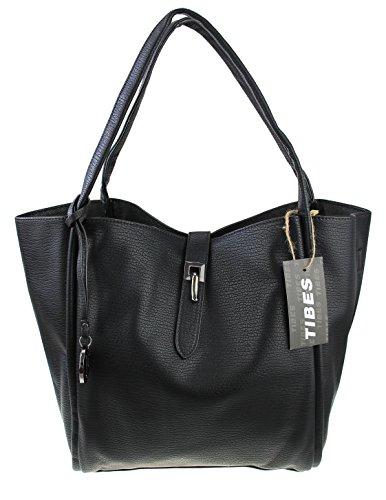 Tibes sashion cuoio dell'unità di elaborazione 2 in 1 borsa a tracolla borsa di grandi dimensioni Nero