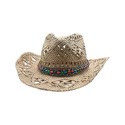 HFGR,Sombrero de Playa,Sombrero de Mujer Hombre Verano Playa cinturón de ala Ancha protección Solar Sombreros para el Sol, 13,56,58 cm