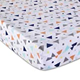 Wendy Bellissimo Velboa Contoured Diaper Pad Cover for Diaper Changer from The Sawyer Collection - Triangle Print in Navy, Turquoise, Orange & Grey