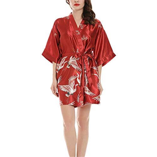 Seide Satin Kimono Kleid Kimono Bademantel Damen Lange Robe Girl Party,Seidenärmel rot 1 M